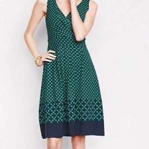 Lands End Navy Blue Dress with Green Polka Dots